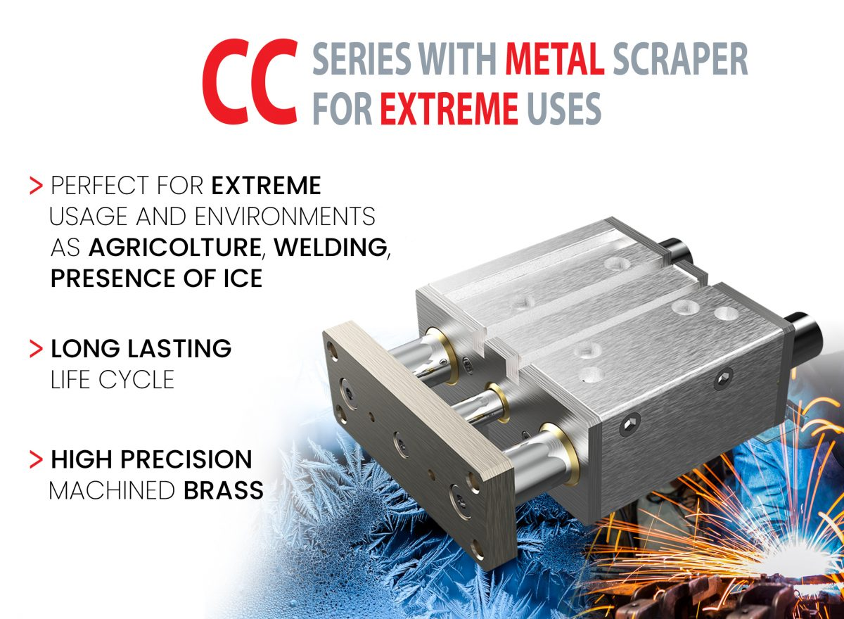 Compact guide cyllinder metal scraper